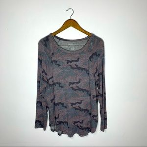 American Eagle Soft & Sexy Gray Camo Long Sleeve T-Shirt Size Large
